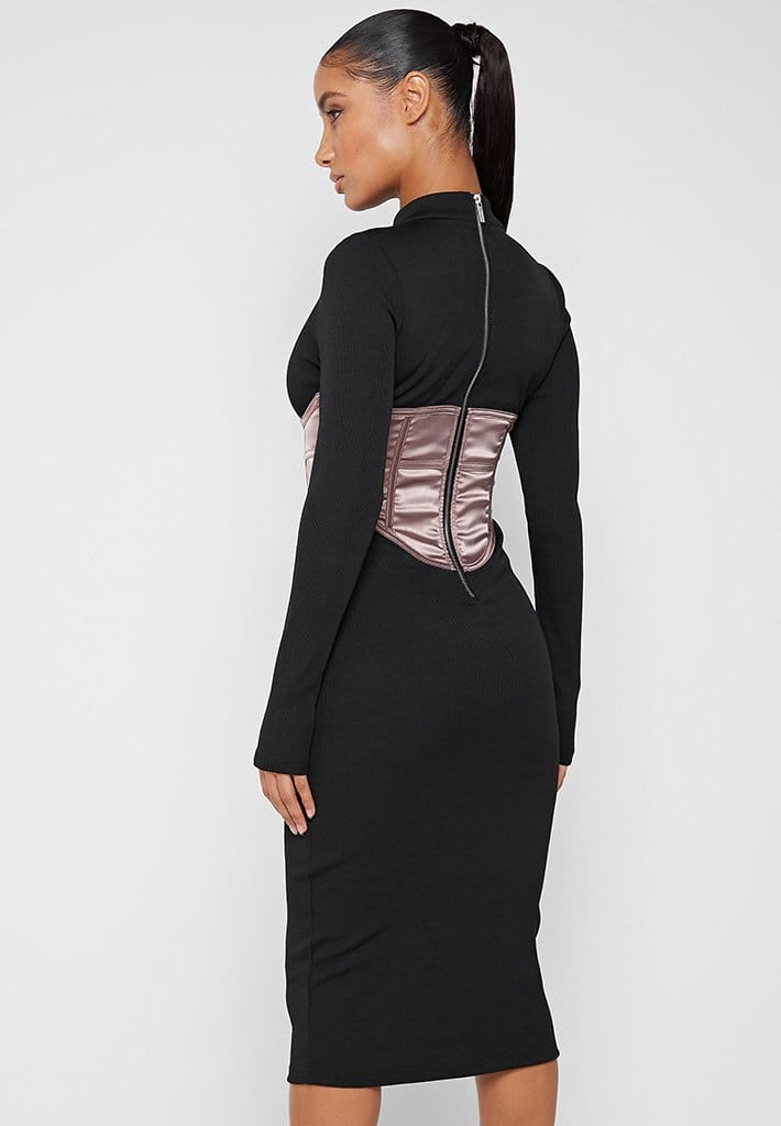 satin-corset-ribbed-midi-dress-black-mink