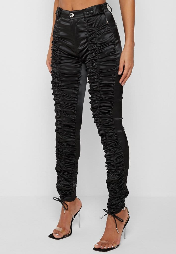 satin-ruched-trousers-black