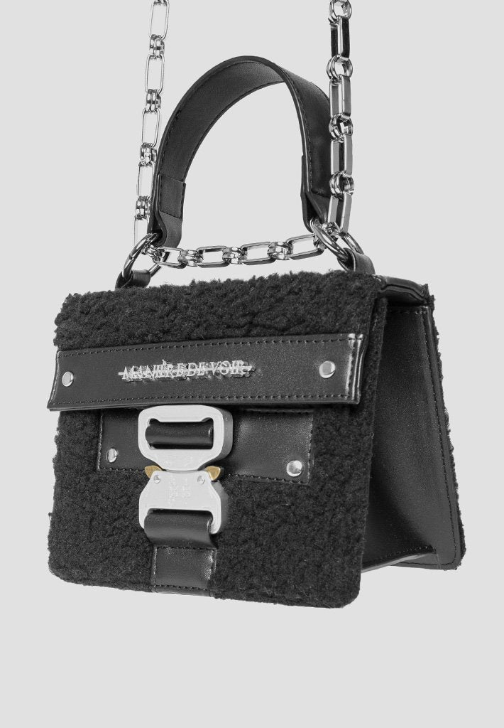 Shearling Buckle Bag - Black