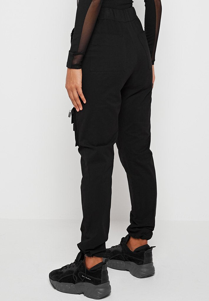 Straight-Leg-Buckle-Detail-Cargo-Trousers-Black