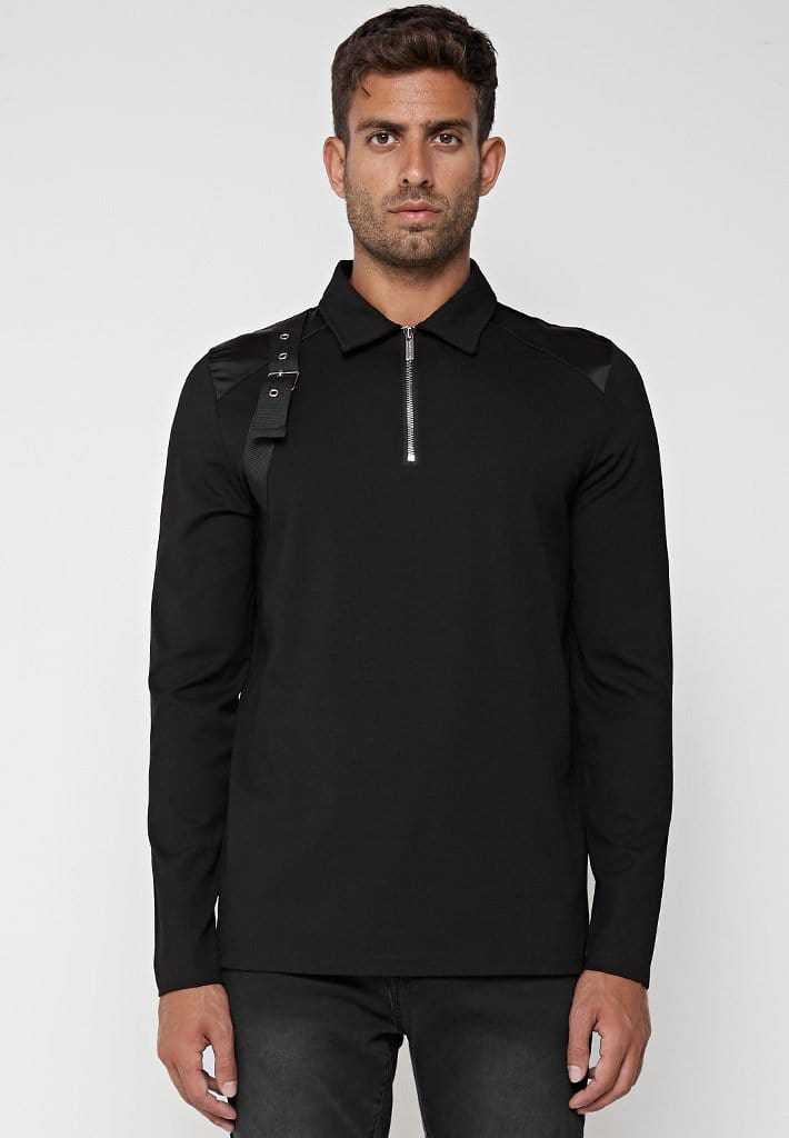 strap-detail-long-sleeve-polo-top-black