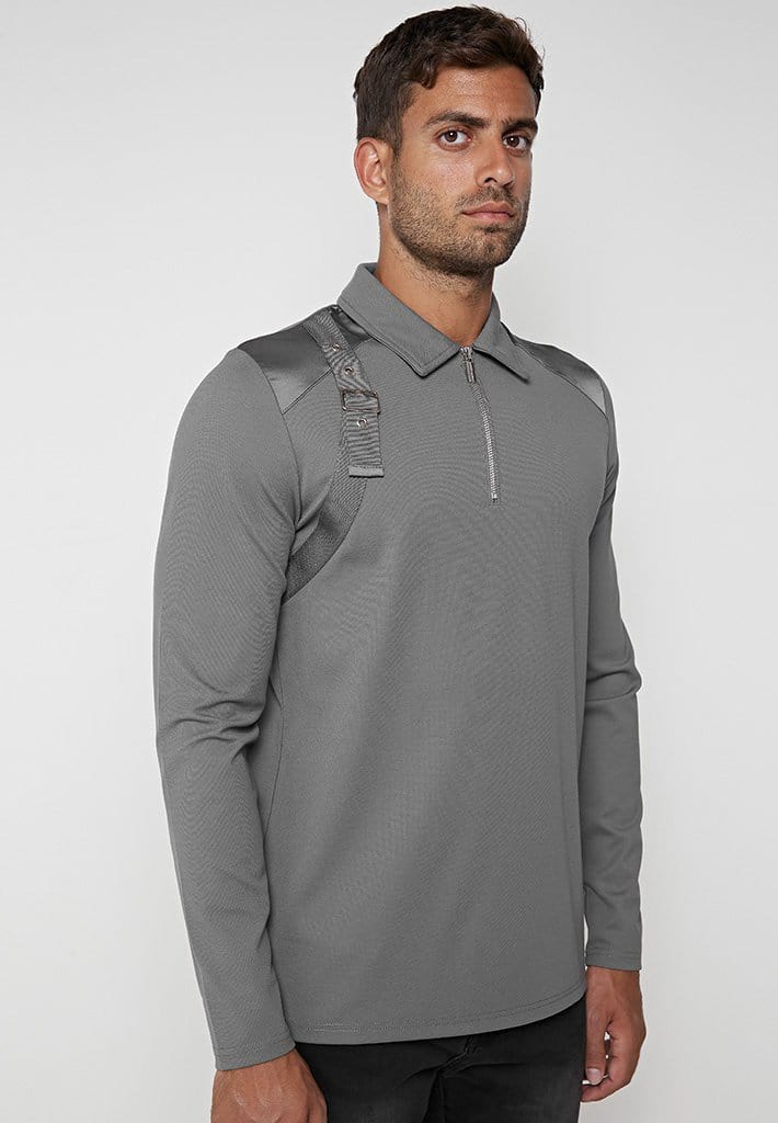 strap-detail-long-sleeve-polo-top-grey