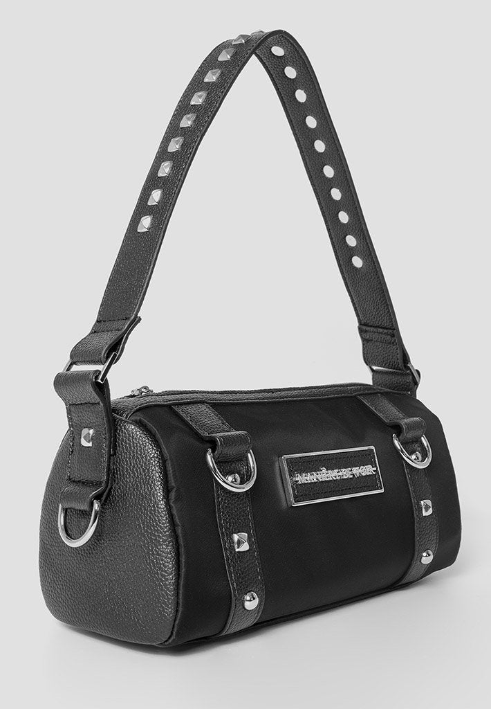 Studded-Barrel-Bag-Black