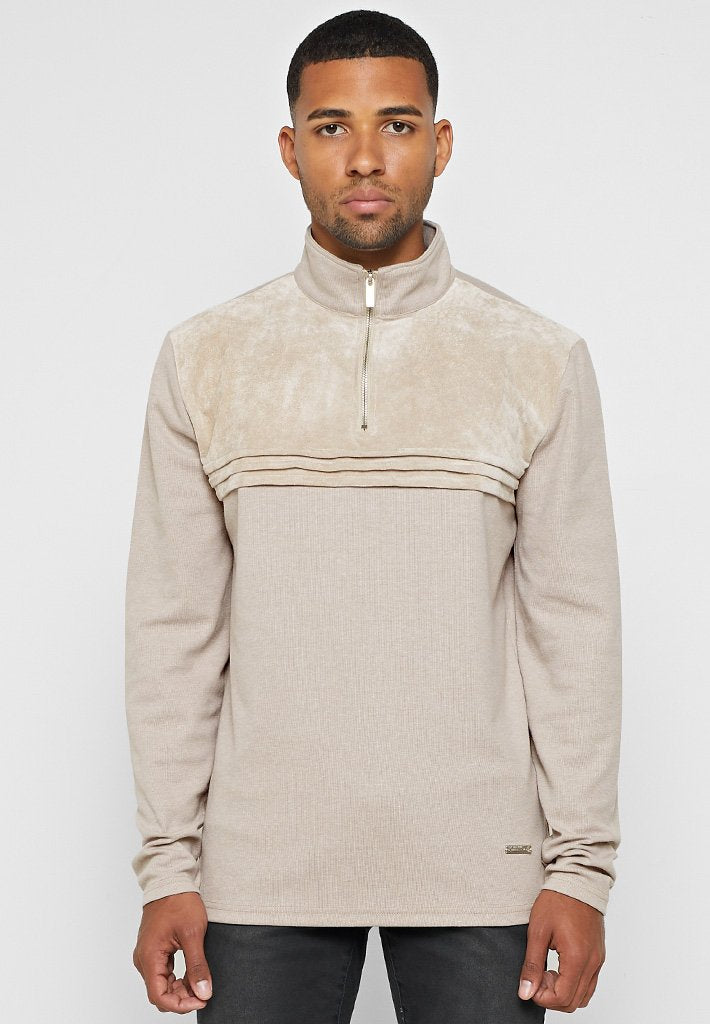 suede-panel-half-zip-jumper-beige