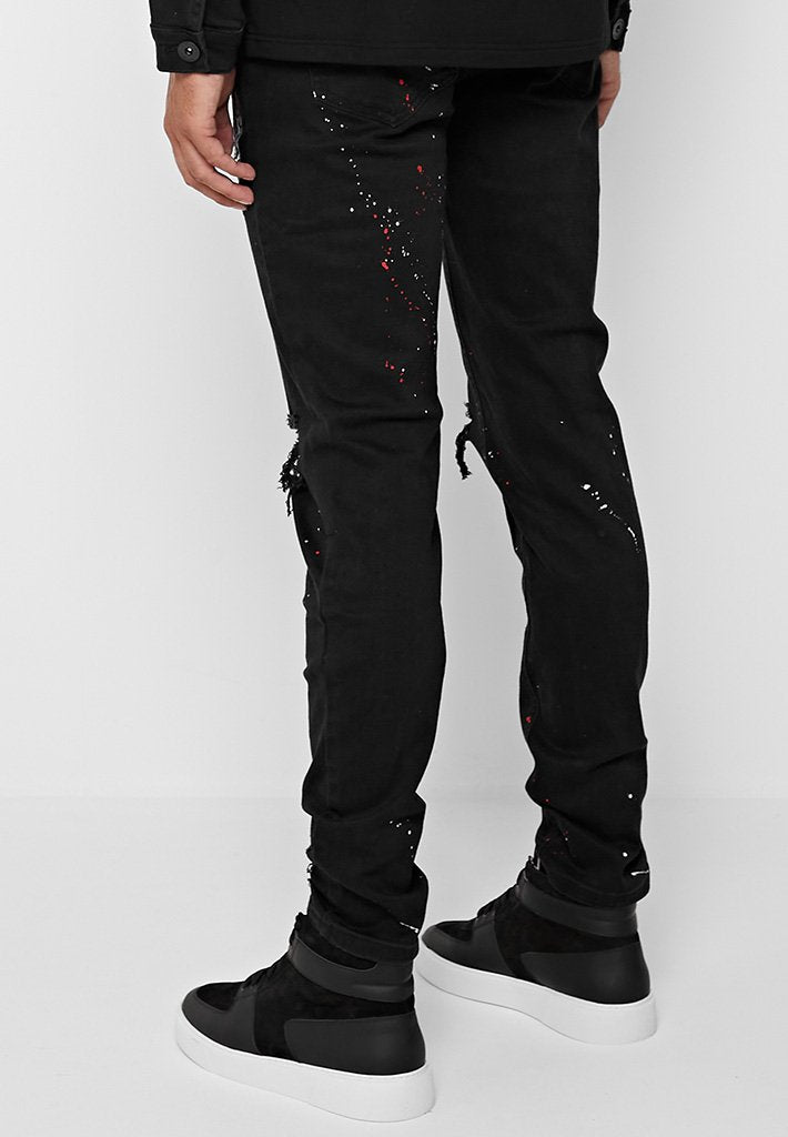 tiger-embroidered-paint-splatter-jeans-black