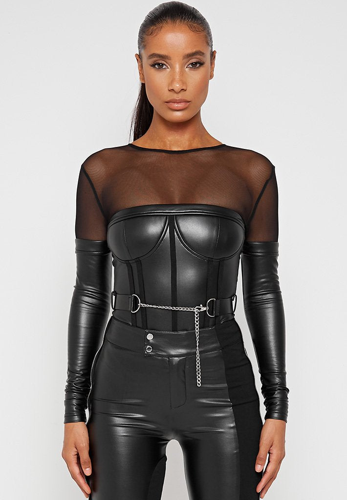 Vegan Leather Corset Bodysuit with Belt - Black
