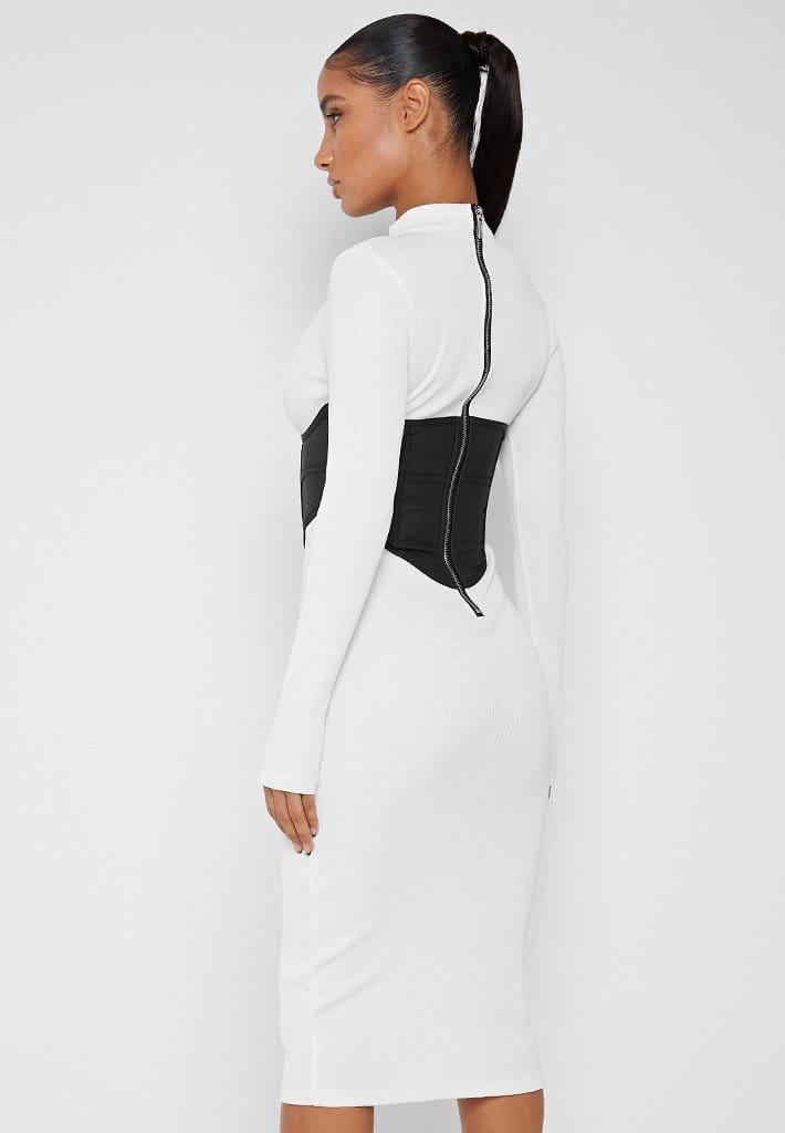 vegan-leather-corset-ribbed-midi-dress-white-black