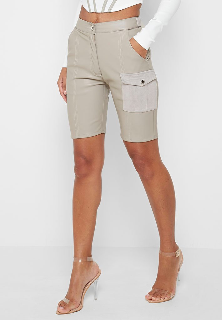 vegan-leather-cargo-cycling-shorts-grey