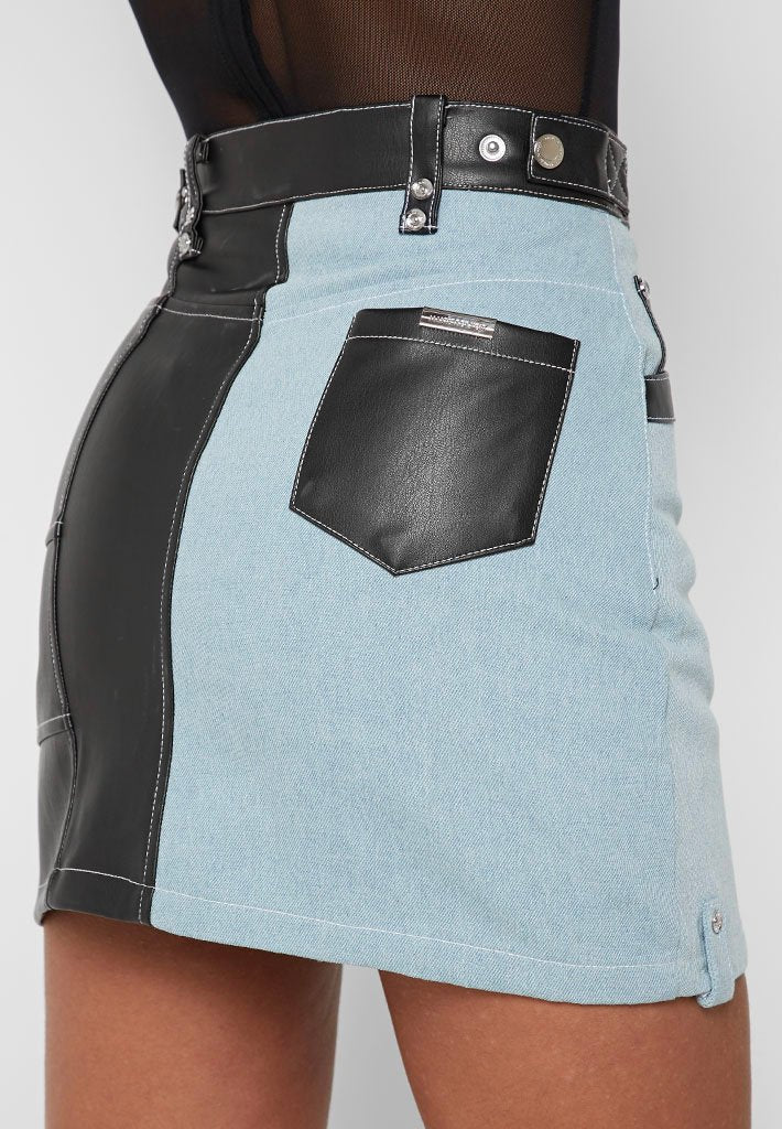 faux-leather-denim-mini-skirt-light-blue-black