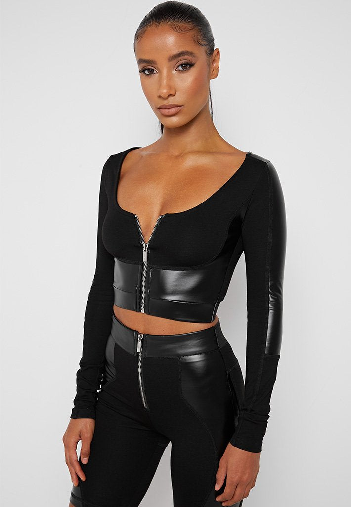 Vegan-Leather-Long-Sleeve-Top-Black