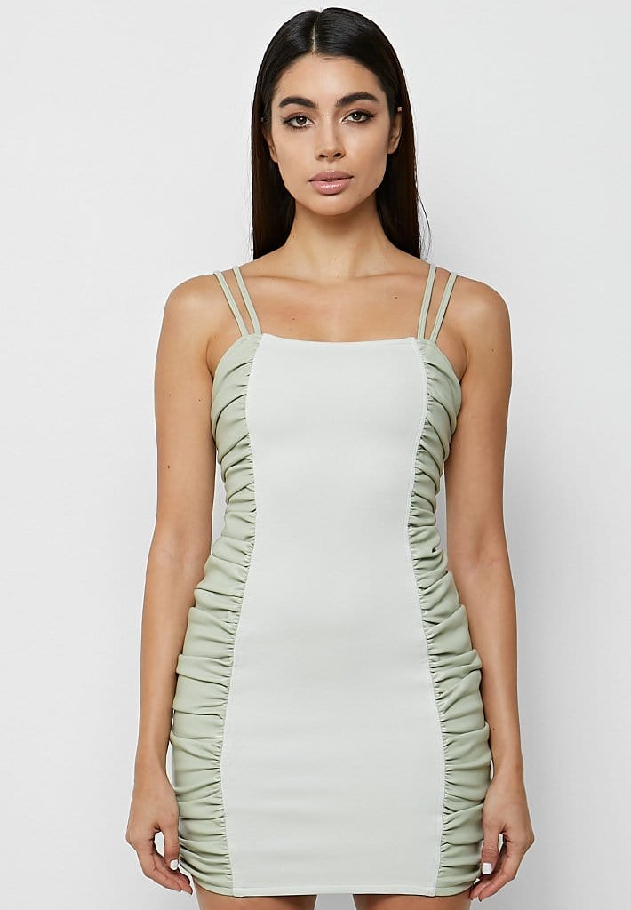 vegan-leather-ruched-side-mini-dress-sage-green