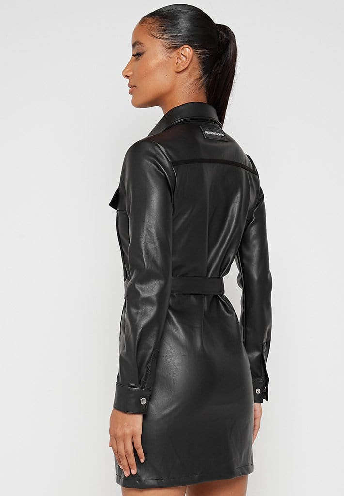 Vegan-Leather-Shirt-Dress-Black