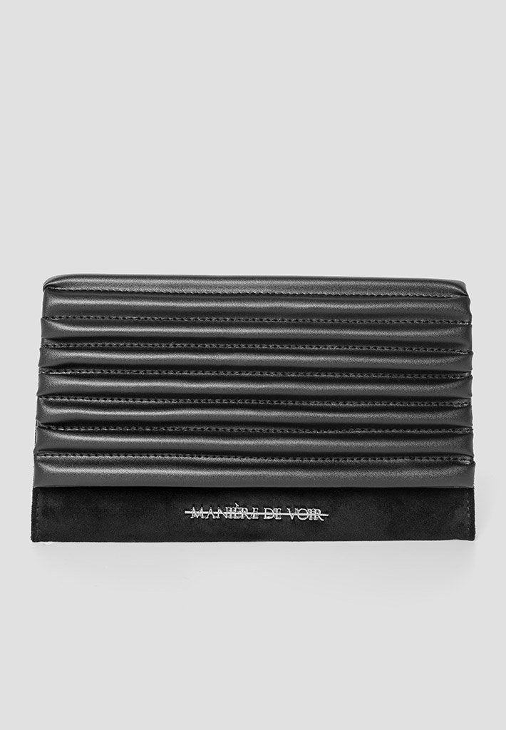 Vegan Leather-and-Suede-Padded-Clutch-Black