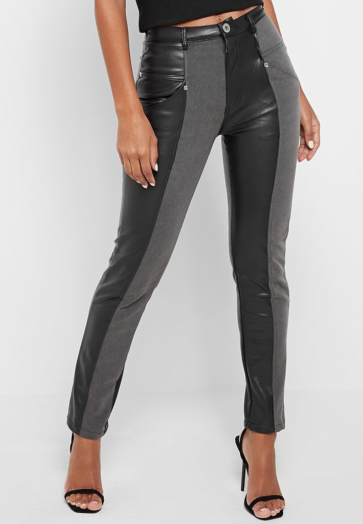 vegan-leather-split-denim-slim-fit-jeans-black