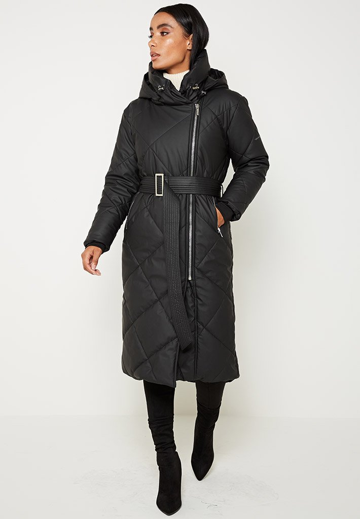 Diamond Quilted Matte Puffer Longline Coat - Black