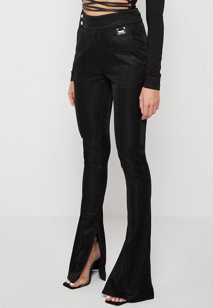 metallic-fitted-flare-trousers-black
