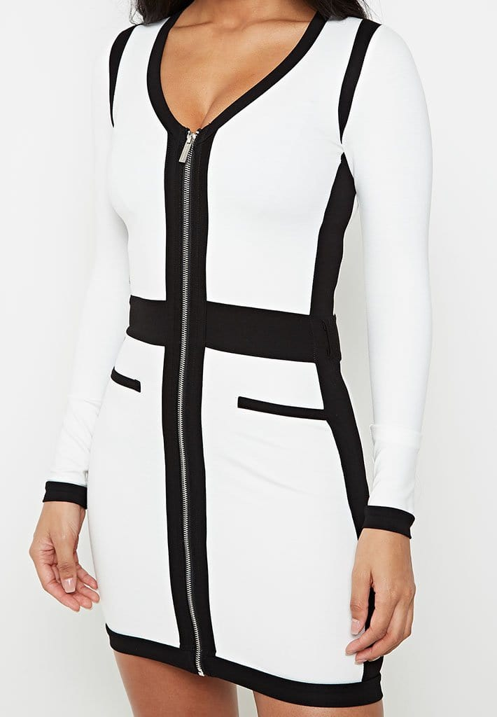 contrast-panel-dress-with-branded-belt-white-with-black