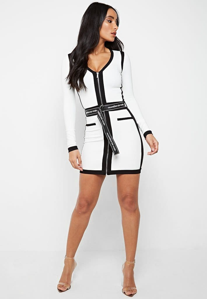 Contrast Panel Dress with Branded Belt - White
