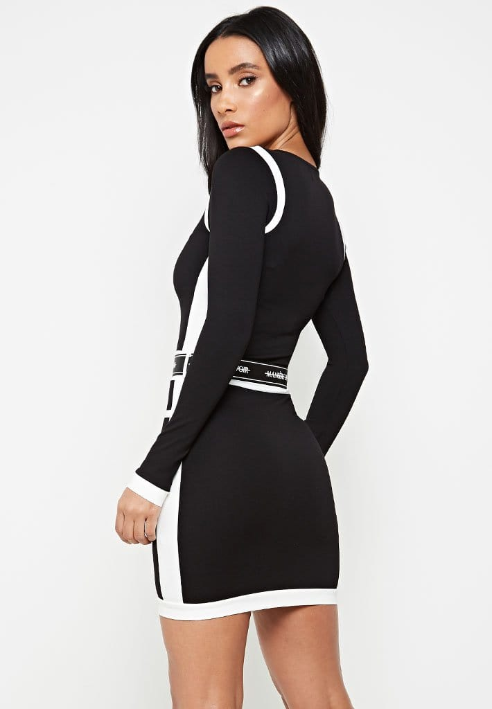 contrast-panel-dress-with-branded-belt-black-with-white