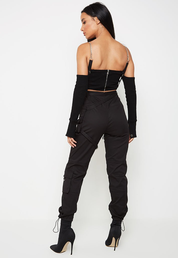 chain-detail-cargo-dungarees-black