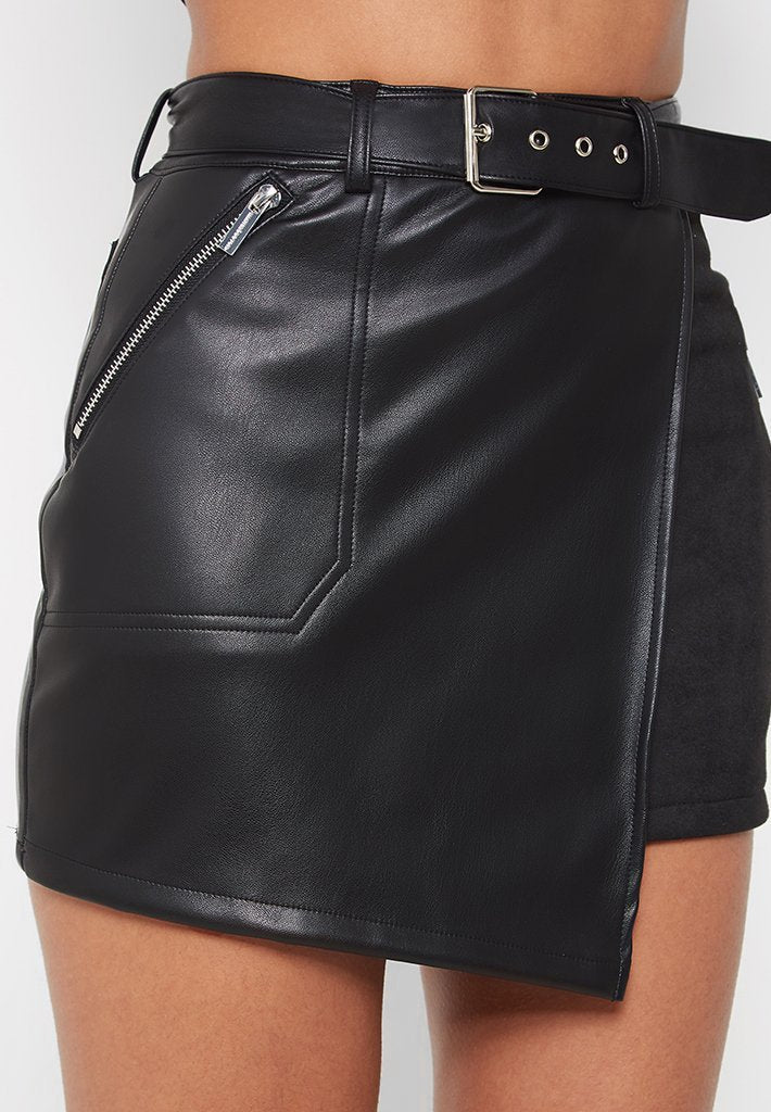 Faux Suede Vegan Leather Skirt - Black
