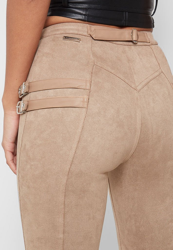 Buckle Detail Faux Suede Leggings - Beige