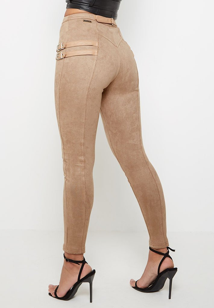 buckle-detail-suede-leggings-beige