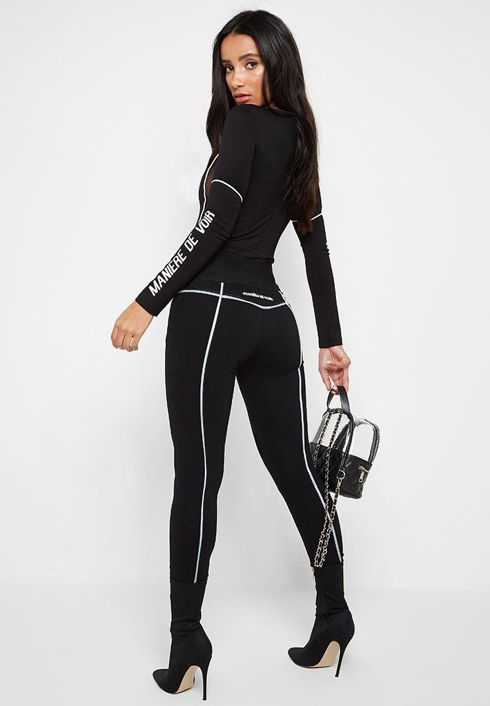 Reflective High Waisted Leggings - Black