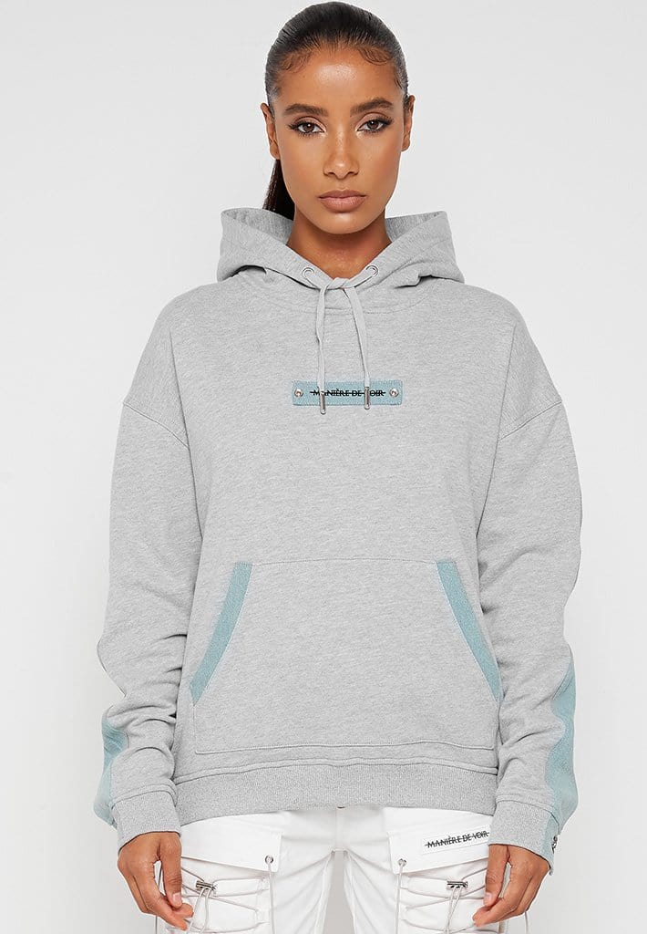We Blame Society Denim Hoodie - Grey/Blue