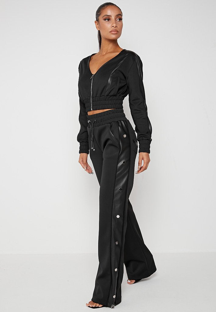 Wide Leg Trousers with Poppers - Black