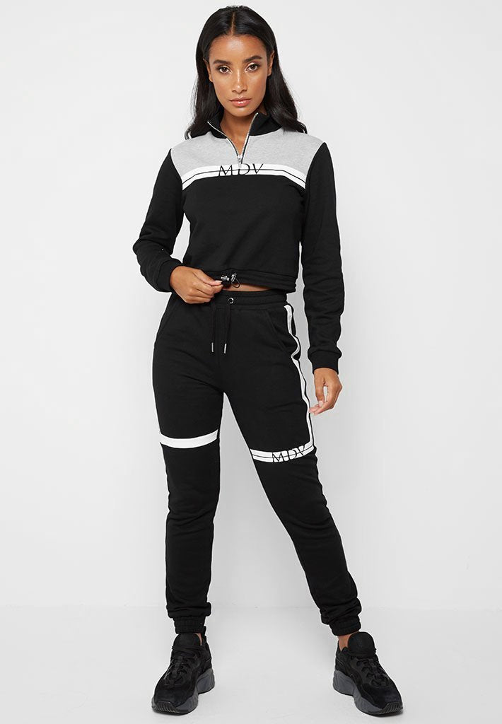 Colour Block Track Joggers - Black
