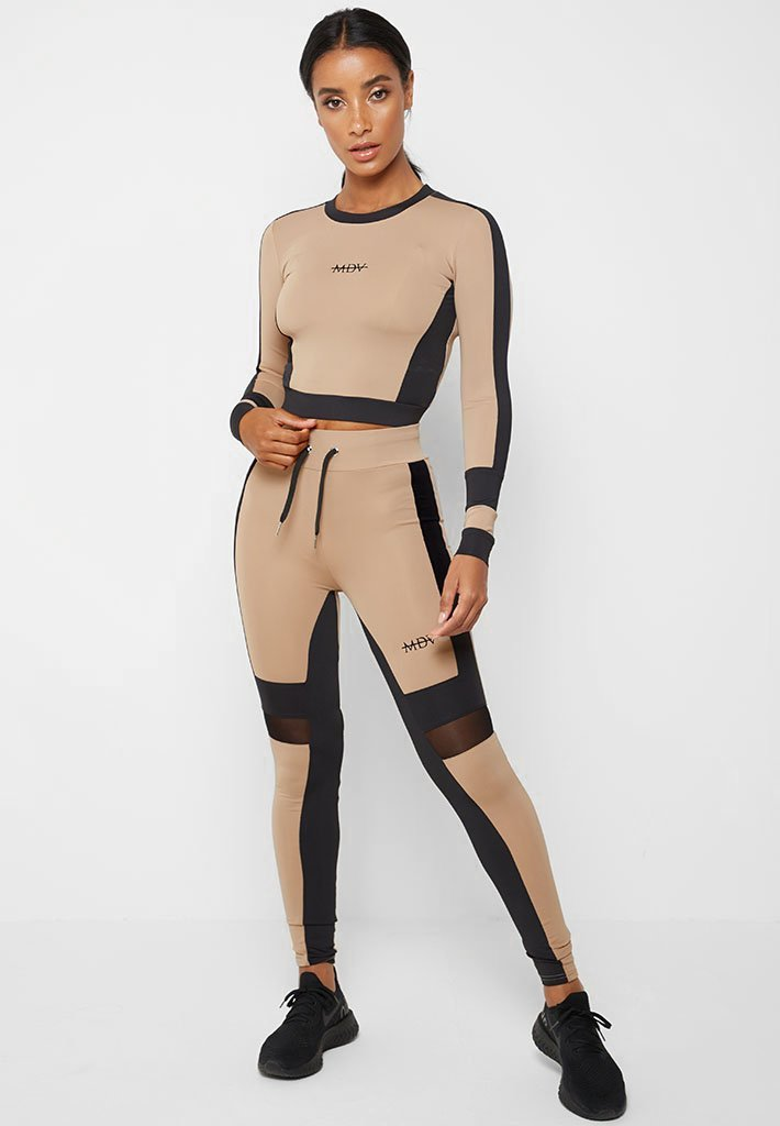 Colour Block Leggings - Beige/Black