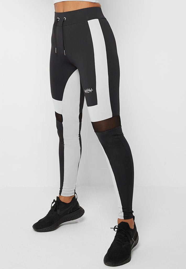 Colour Block Leggings - Black/Grey