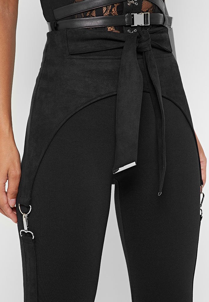 vegan-suede-tie-waist-bandage-leggings-black