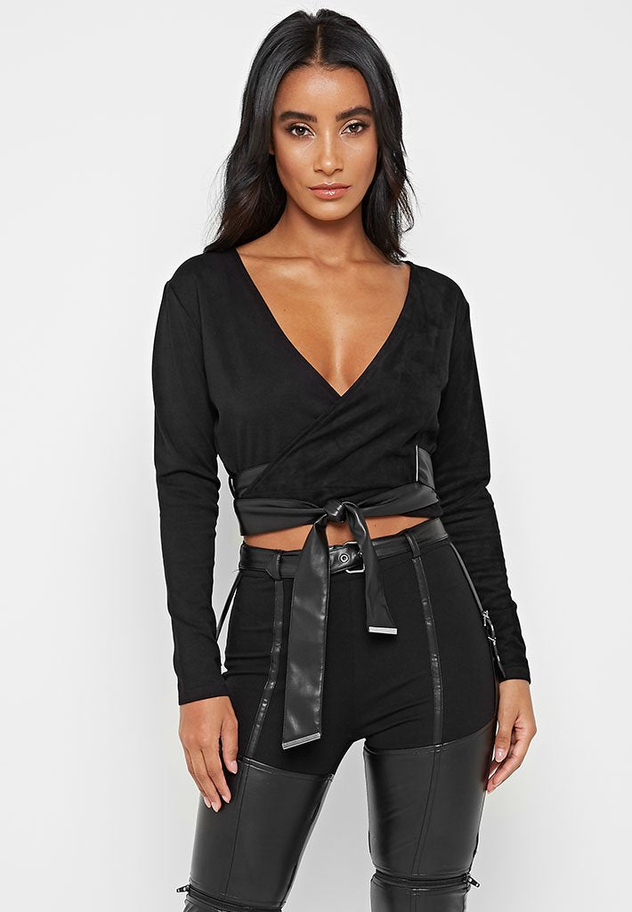 vegan-suede-and-jersey-wrap-top-black