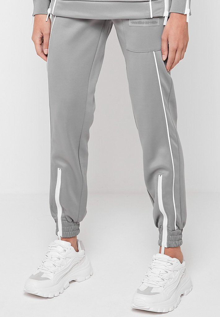 Zip Detail Neoprene Joggers - Grey