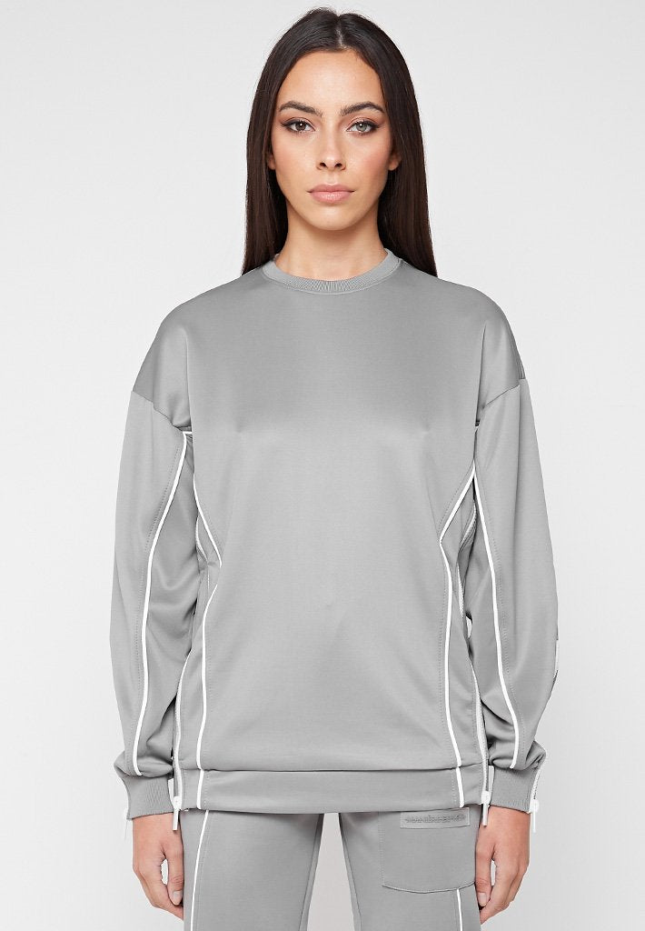 Zip Detail Neoprene Jumper - Grey