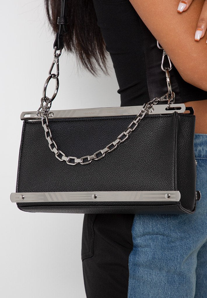 Shoulder Bag with Etched Metal Detail - Black