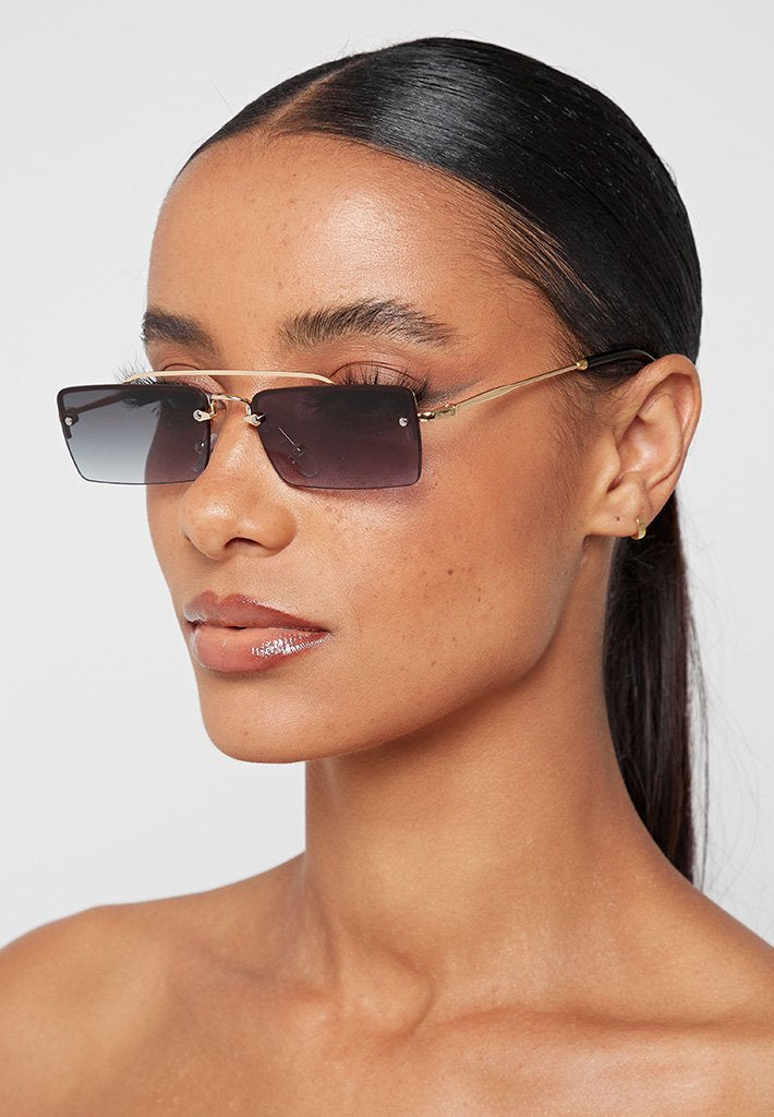 Rectangle Aviator Sunglasses - Black