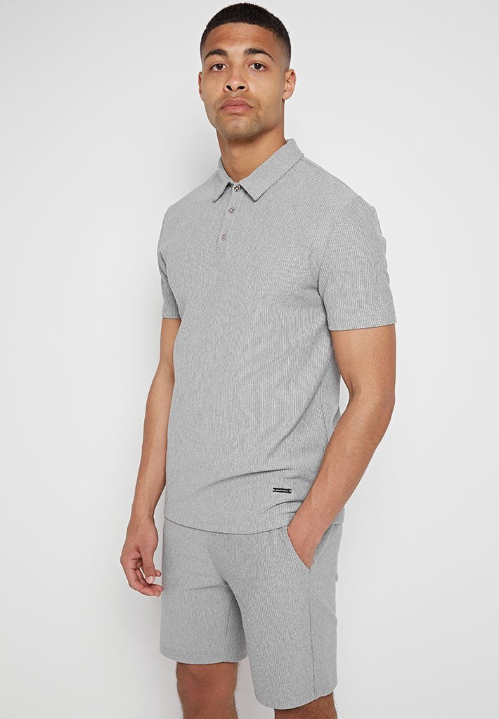 ribbed-texture-polo-top-grey