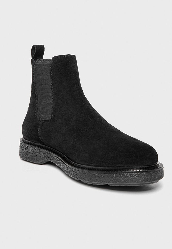 Suede Chelsea Boot - Black