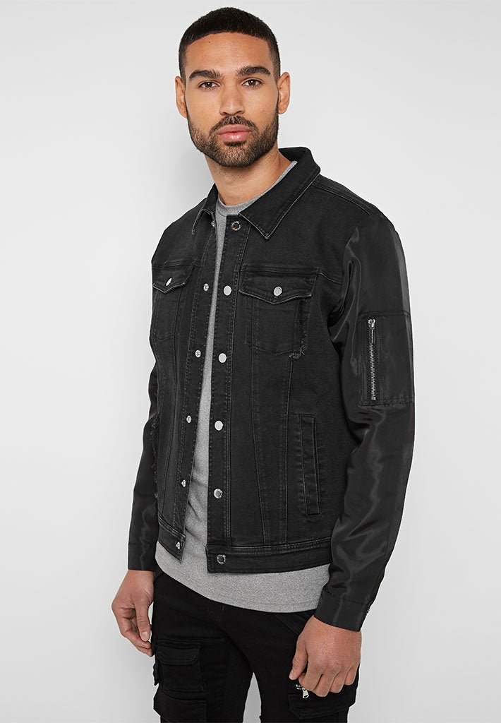 denim-jacket-with-high-shine-sleeves-black