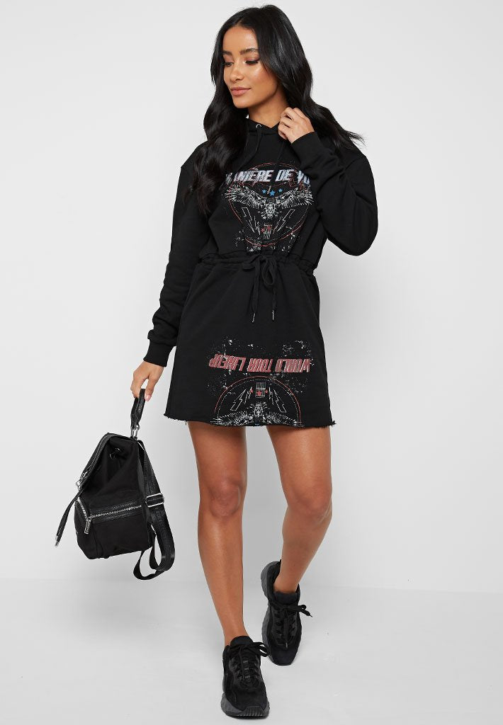 Tie-Waist Hooded Dress - Black