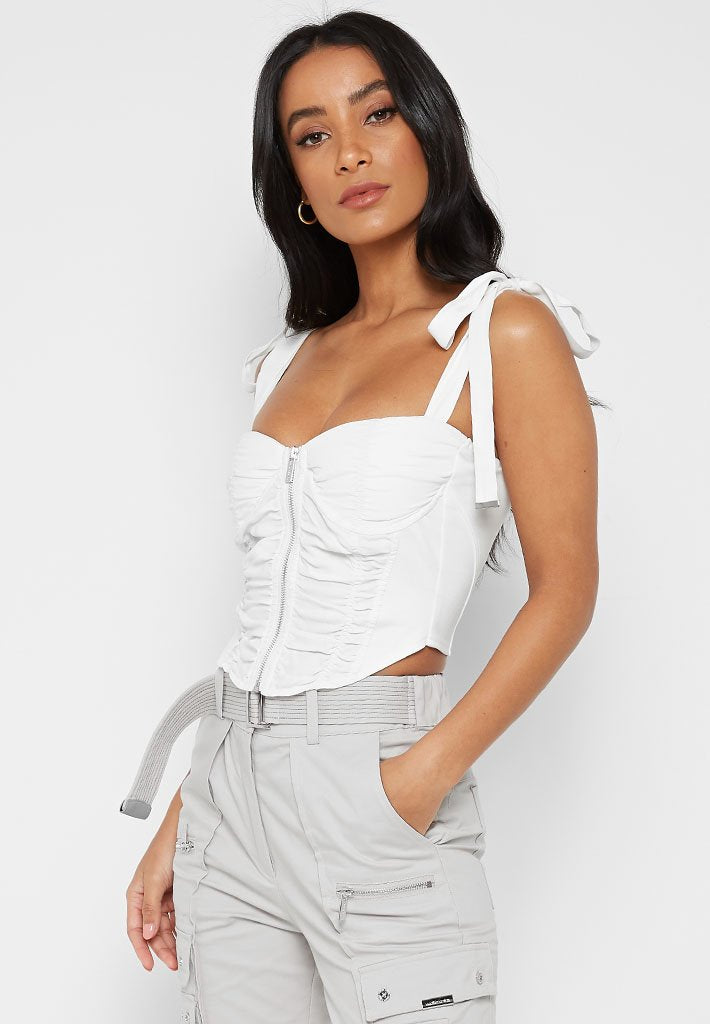 Ruched Corset Top - White