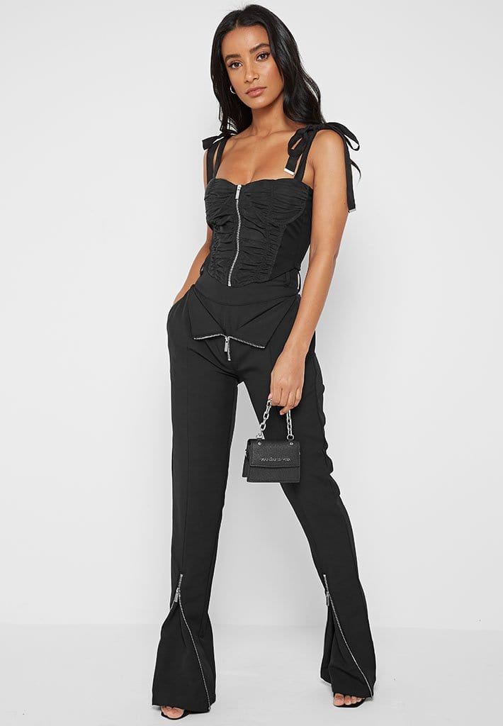 Ruched Corset Top - Black