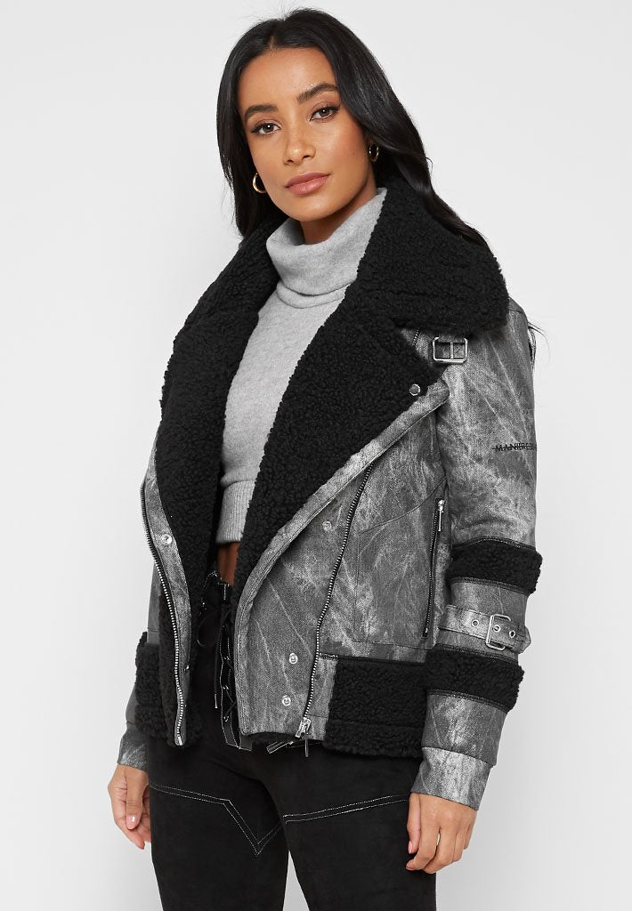 Borg and Vegan Leather Biker Jacket - Grey - Limited Edition