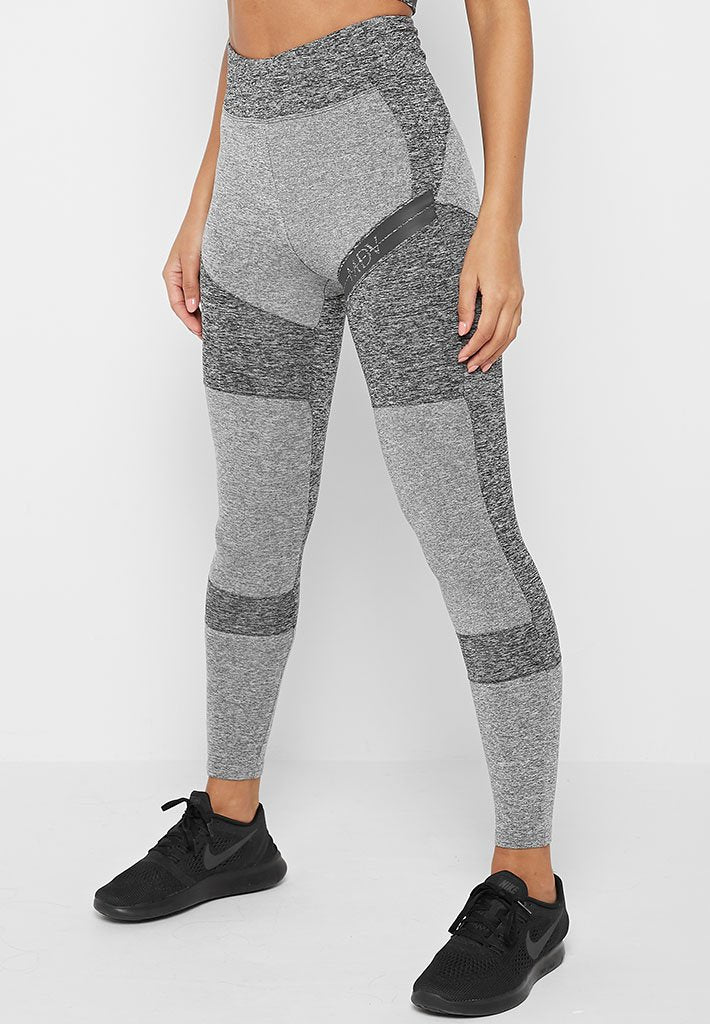 High Waisted Leggings with Reflective Taping - Grey Marl