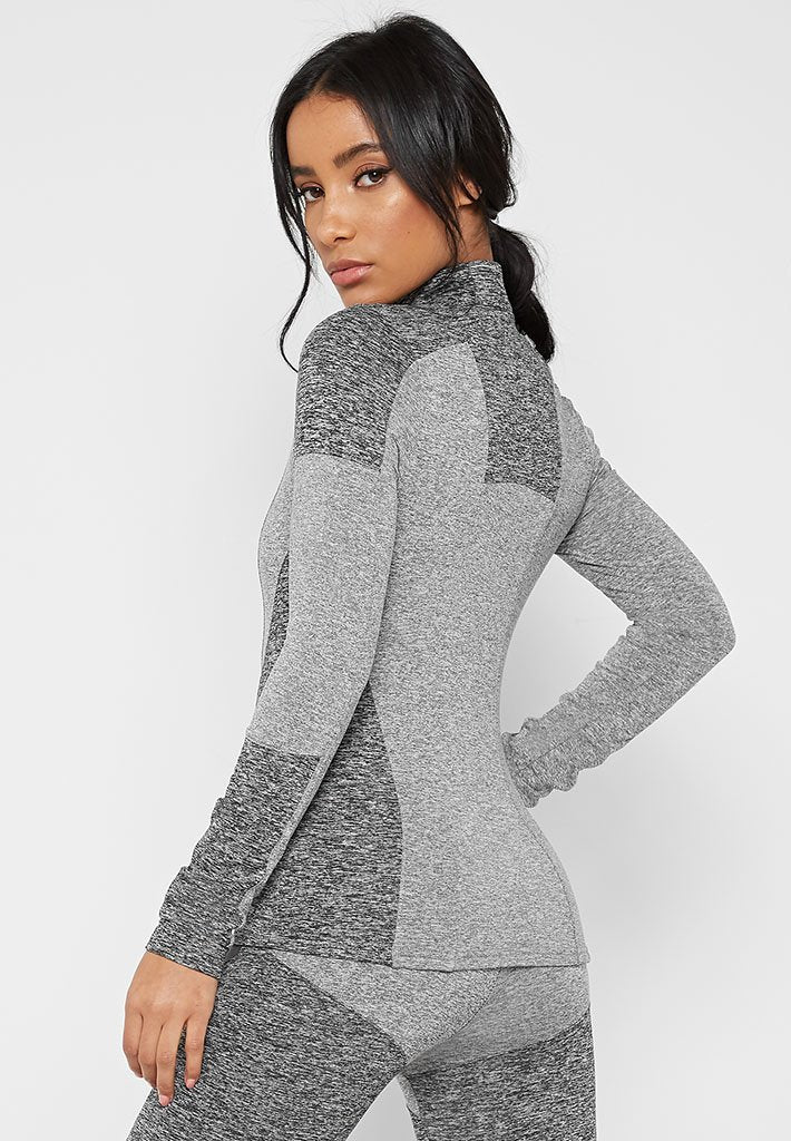 Long Sleeve Top with Reflective Taping - Grey Marl