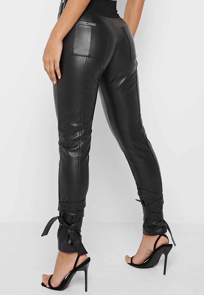 Vegan Leather Trousers with Ankle Ties - Black