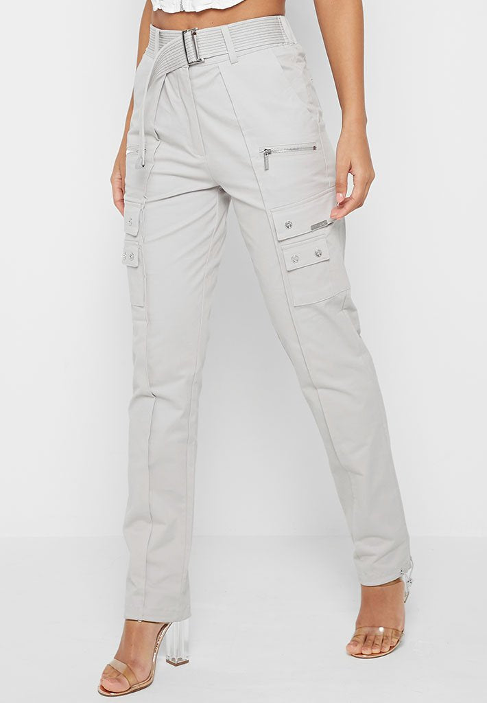 Cargo Trousers with Self Belt - Iced Grey